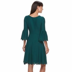 ELLE laser cut bell sleeve casual dress